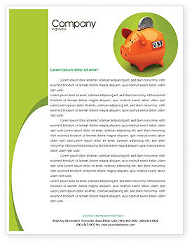 Financial/Accounting: Piggy-bank Letterhead Template #02832