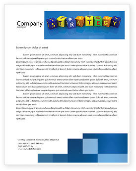3D: Business Strategy Education Letterhead Template #02836