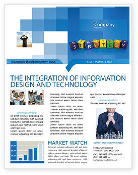 Charming 3D: Business Strategy Education Newsletter Template #02836 For Business Newsletter Templates Free Download