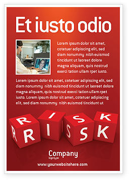 Business: Red Risk Cubes Ad Template #02837
