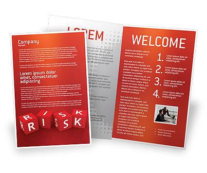 Business: Red Risk Cubes Brochure Template #02837