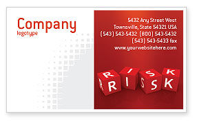Business: Red Risk Cubes Business Card Template #02837