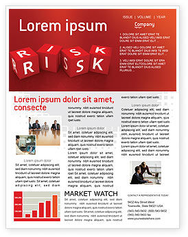Business: Templat Buletin Red Risk Cubes #02837