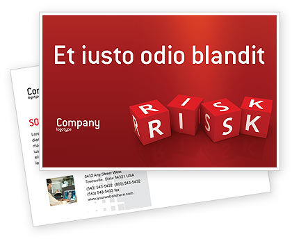 Red Risk Cubes Postcard Template, 02837, Business — PoweredTemplate.com