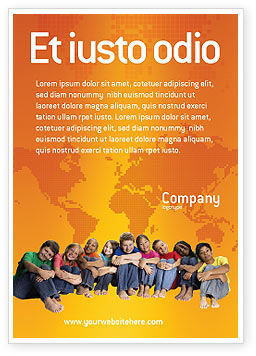 People: Kids On the Orange World Background Ad Template #02838