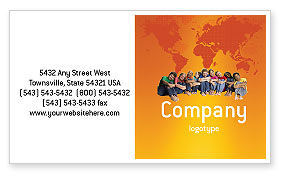 Kids On the Orange World Background Business Card Template, 02838, People — PoweredTemplate.com
