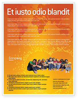 People: Kids On the Orange World Background Flyer Template #02838