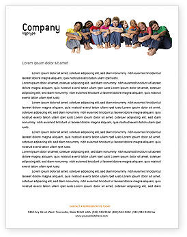 People: Kids On the Orange World Background Letterhead Template #02838