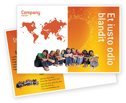 People: Kids On the Orange World Background Postcard Template #02838