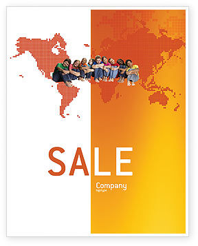 People: Kids On the Orange World Background Sale Poster Template #02838