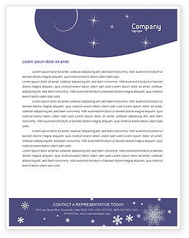 Holiday/Special Occasion: Snowflakes Letterhead Template #02846