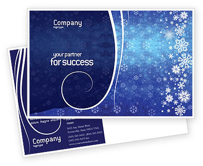 Holiday/Special Occasion: Snowflakes Postcard Template #02846