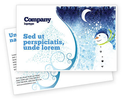 Snowman Postcard Template, 02847, Holiday/Special Occasion — PoweredTemplate.com