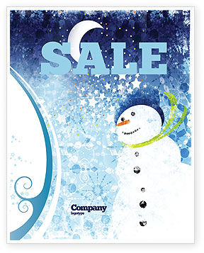 Snowman Sale Poster Template, 02847, Holiday/Special Occasion — PoweredTemplate.com