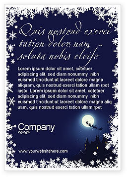Holiday/Special Occasion: Santa's Sleigh On The Background Of The Moon Ad Template #02850