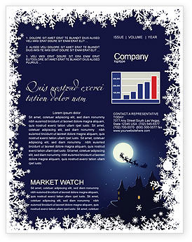 Santa's Sleigh On The Background Of The Moon Newsletter Template, 02850, Holiday/Special Occasion — PoweredTemplate.com