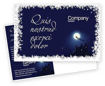 Holiday/Special Occasion: Santa's Sleigh On The Background Of The Moon Postcard Template #02850