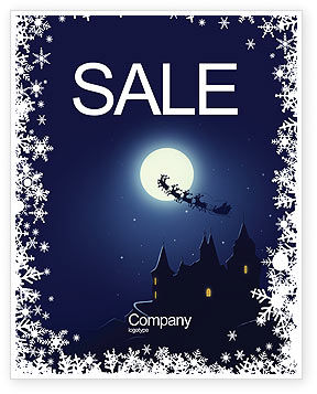 Santa's Sleigh On The Background Of The Moon Sale Poster Template, 02850, Holiday/Special Occasion — PoweredTemplate.com