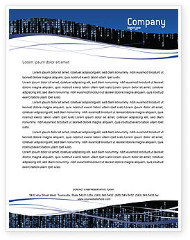 Technology, Science & Computers: Matrix Theme Letterhead Template #02851
