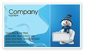 Holiday/Special Occasion: Smiling Snowman Business Card Template #02857
