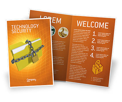 Secured Folder Brochure Template, 02859, Technology, Science & Computers — PoweredTemplate.com