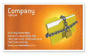 Secured Folder Business Card Template, 02859, Technology, Science & Computers — PoweredTemplate.com