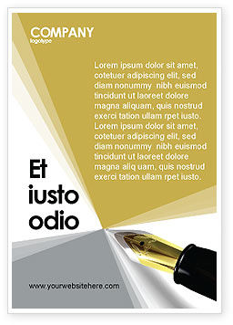 Fountain Pen On The Light Gold Ad Template, 02862, Business — PoweredTemplate.com
