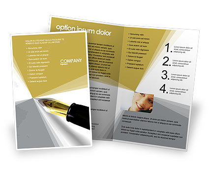 Business: Fountain Pen On The Light Gold Brochure Template #02862