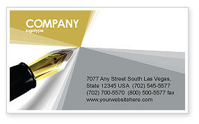 Business: Fountain Pen On The Light Gold Business Card Template #02862