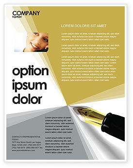 Business: Fountain Pen On The Light Gold Flyer Template #02862