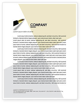 Business: Fountain Pen On The Light Gold Letterhead Template #02862