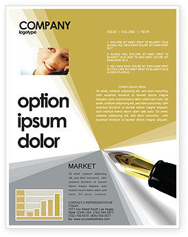Business: Fountain Pen On The Light Gold Newsletter Template #02862