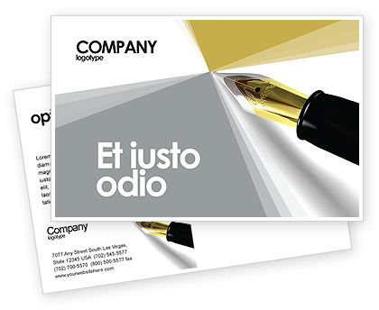 Business: Fountain Pen On The Light Gold Postcard Template #02862