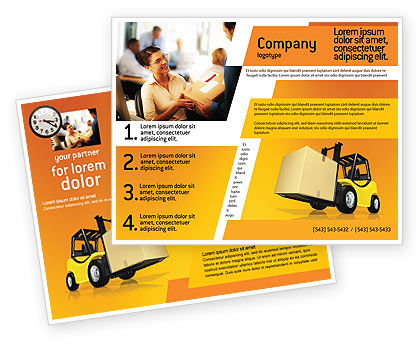 Yellow Loader Brochure Template, 02863, Cars/Transportation — PoweredTemplate.com