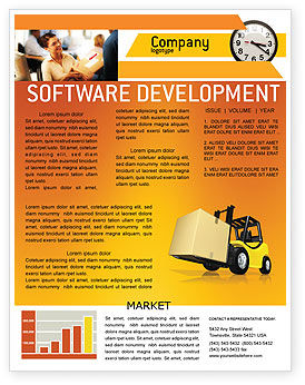 Yellow Loader Newsletter Template, 02863, Cars/Transportation — PoweredTemplate.com