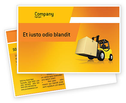 Cars/Transportation: Yellow Loader Postcard Template #02863