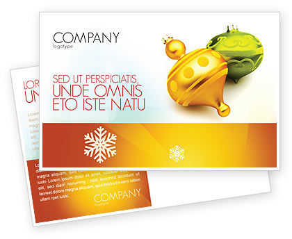 Decorations Of New Year Postcard Template