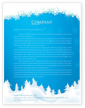 Holiday/Special Occasion: Forest Snow Letterhead Template #02888