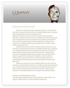 Skull As Anatomy Tutorial Letterhead Template, 02889, Medical — PoweredTemplate.com