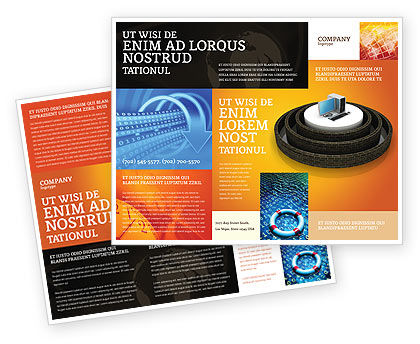 Computer Firewall Brochure Template, 02893, Technology, Science & Computers — PoweredTemplate.com
