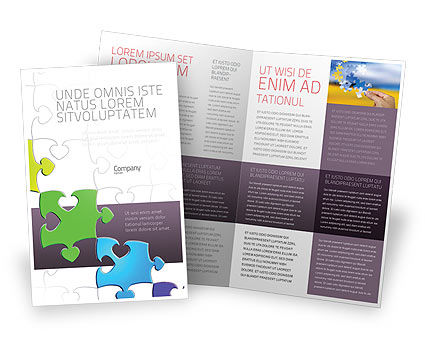 Fancy Jigsaw Brochure Template, 02895, Business Concepts — PoweredTemplate.com