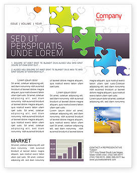 Fancy Jigsaw Newsletter Template, 02895, Business Concepts — PoweredTemplate.com