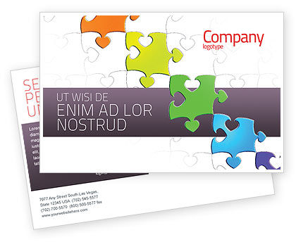 Business Concepts: Modèle de Carte postale de fancy jigsaw #02895