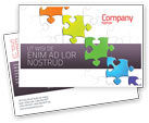 Business Concepts: Fancy Jigsaw Postcard Template #02895