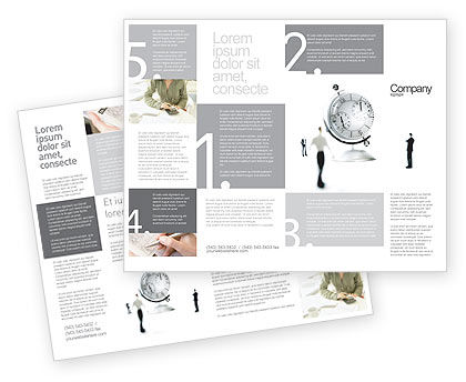 World Time Brochure Template, 02898, Business — PoweredTemplate.com