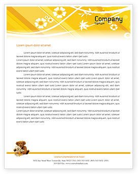 Teddy Bear Letterhead Template, 02901, Holiday/Special Occasion — PoweredTemplate.com