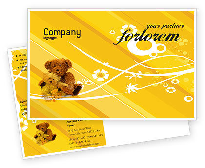 Teddy Bear Postcard Template, 02901, Holiday/Special Occasion — PoweredTemplate.com