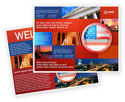 Flags/International: US Flag Brochure Template #02905
