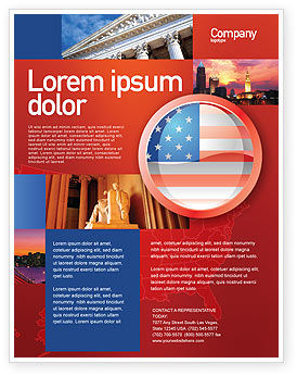Flags/International: US Flag Flyer Template #02905