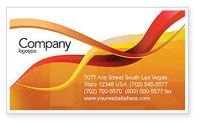 Yellow Waves Business Card Template, 02914, Abstract/Textures — PoweredTemplate.com